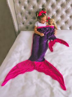 Purple/Hot Pink Mermaid Tail Minky Blanket-KID or  DOLL/BABY SIZE.... SOLD SEPARATELY! #accessories #new