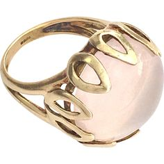 Vintage 9K Gold Pink Moonstone Cocktail Ring for sale with Corvidae Antique on Ruby Lane