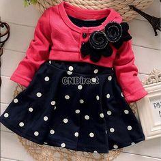 Soft New Arrival Spring-autumn New Arrive Flower Dot Full Sleeve Baby Girls Princess Dress
