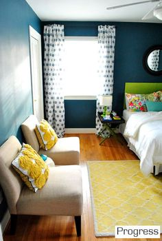 like the dark teal walls & the touch of lime green & yellow