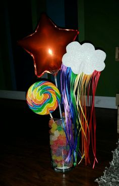 Rainbow Cloud Centerpiece  Birthday Party  by SpiralingNature