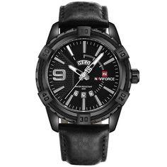 Top Luxury Brand Men Leather Gold Watch Men's Quartz Date Clock Man Wrist Watches