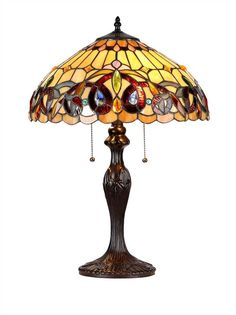 Chloe Lighting CH33353VR16-TL2 Serenity Tiffany-Style Victorian 2-Light Table Lamp with 16-Inch Shade. (2) 60 Watt max E26 Type A Bulb (not included). Pull chain switch. 374pcs glass cut, 18 cabochons, 24 crystals.