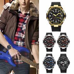 Fashion Waterproof Men Digital Sports Military Date Analog Quartz Wrist Watch