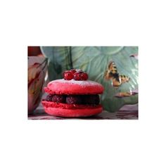 rasberry cookies macaroons Star Food Stylist - Chris Oliver of... ❤ liked on Polyvore