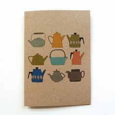 Teapots card by katebroughton on Etsy, £2.50