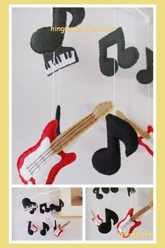 Modern Music Crib Mobile for my little Rockstar. Would love this with drums in place of pianos.