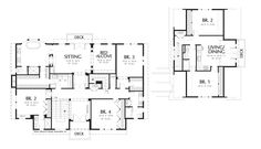 Upper Floor Plan of Mascord Plan 2418 - The Parnell - Luxury Home Plan with a Sunroom and Hobby Room  The ULTIMATE Carpenter Lane house - totally remix of living spaces.... and run it thru a hot water cycle to shrink it by 1,500sft.