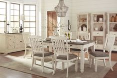 Dine in comfort and beauty when you choose the Bolanburg White and Gray Rectangular Dining Room Set. This Signature Design by Ashley dining room furniture has an attractive white weathered oak finish over oak and acacia veneers. Modern Dining, Room Design, Dining, Kitchen Table Settings, Dining Room Sets, Dining Room Decor, Cheap Living Room Sets, Dining Room Furniture, Rectangular Dining Room Set