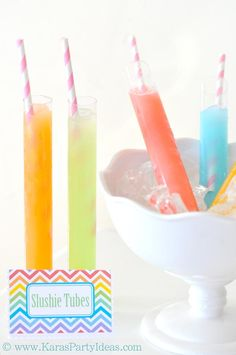 Slushie tubes at a birthday party! SO cute. Clear candy tubes available in Kara's Party Ideas Shop. www.KarasPartyIdeas.com