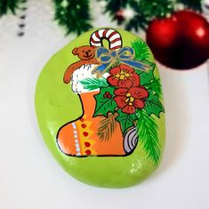 Christmas Is Over, Christmas Candle, Christmas Art, Christmas Stockings, Beach Rock Art, Beach Rocks, Hand Painted Rocks, Painted Stones, Butterfly Party Favors