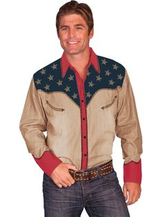 Scully® Mens Patriotic Color Blocked Pick Stitched Long Sleeve Snap Western Shirt
