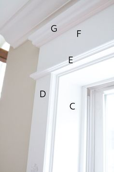 "Farmhouse-Trim-Measurements A – B – The top trim is a combination of a essentially three pieces, a larger top molding, a flat board and then a smaller bottom molding. The area marked ""C"" is the setback of what was originally the drywall and ou Door Molding, Moldings And Trim, Moulding, Crown Molding, Window Molding Trim, Molding Ideas, Craftsman Window Trim, Farmhouse Trim, Farmhouse Style"