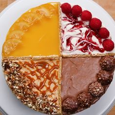 4 Flavor Cheesecake Recipe by Tasty Just Desserts, Delicious Desserts, Yummy Food, Cheesecake Recipes, Dessert Recipes, Lemon Curd Cheesecake, Cupcake Recipes, Tasty Videos, Food Videos