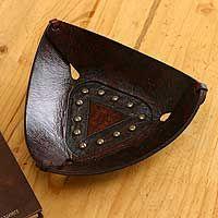 Leather tray, 'Essential Trinity'