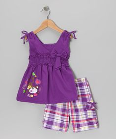 Take a look at this Purple Monkey Tunic & Plaid Shorts - Infant, Toddler & Girls by Littoe Potatoes on today! Baby Girl Fashion, Toddler Fashion, Kids Fashion, Infant Toddler, Toddler Girls, Cute Baby Girl, Cute Girls, Cute Girl Outfits, Plaid Shorts