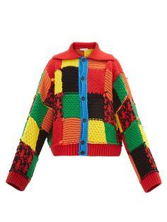 jw anderson - cardigan en laine grossière à patchwork - homme - Chunky Cardigan, Wool Cardigan, Wool Sweaters, Chunky Knits, Cardigan Pattern, Harry Styles Clothes, Nancy Zieman, Vogue Knitting, Cardigan Fashion