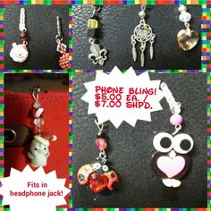 Phone / tablet charms made by me.