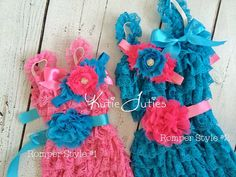 Hot Pink and Turquoise Romper, Sash, & Headband- Outfit, Cake Smash, Birthday, Baby, Girl, Newborn, 1st Birthday, infant, toddler, pink