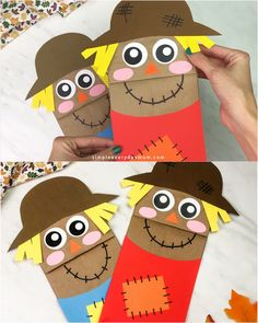 These simple brown paper bag scarecrows are a fun and easy fall craft idea for kids in preschool, kindergarten and elementary school. They come with a free printable template and work great doing at home, at school, the library or at daycare. Thanksgiving Crafts For Toddlers, Halloween Crafts For Toddlers, Halloween Crafts For Kids, Crafts For Kids To Make, Toddler Crafts, Craft Kids, Thanksgiving Decorations, Kids Diy, Thanksgiving Kindergarten Art