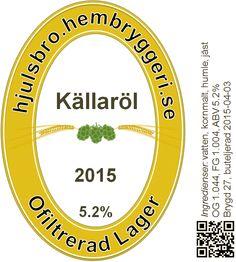 """Källaröl, Reibert Arbring, Hjulsbro, Linköping 2015. """"En klassisk stil med modern information. Alla bryggeriets etiketter följer samma mönster för igenkänning, färg varierar efter stil."""""""