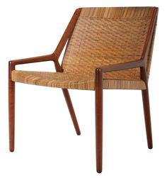 E. Larsen & A.B. Madsen; Teak and Cane Easy Chair, 1951.