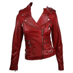 100% Ladies Real Leather Jacket Short Fitted Bikers Style Retro Red... (200 CAD) ❤ liked on Polyvore featuring outerwear, jackets, coats, leather jacket, tops, 100 leather jacket, biker jacket, short jacket and retro jackets