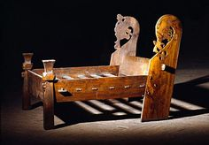 Well preserved wooden bed from the Oseberg Viking ship burial, 9th century AD.