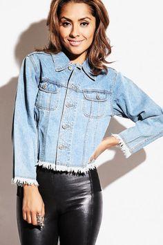 Trendy Cute light blue wash frayed hem denim jean jacket fo cheap | Affordable Clothing | 1015 store