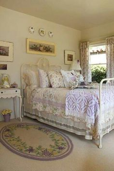 farmhouse bedroom reminds me of the bed my sister and i shared when we were young