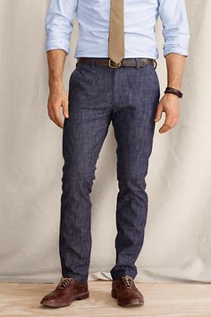 Men's Elston 608 Slim Fit Chambray Pants from Lands' End Canvas - interesting