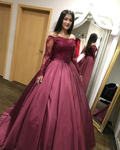 Hot Pink Ball Gown Prom Dresses 2017  Off the Shoulder Long Sleeve Party Dress with Bow  Satin Evening Dress Gowns Long  vestido de festa
