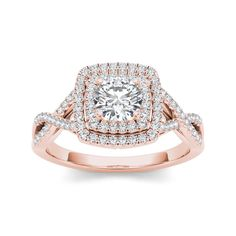 Give her a glittering gift of love, symbolic of your past, present and future together. This ring is  beautifully crafted rose gold, radiant with diamonds and buffed to a bright luster, perfect for your getting engaged day.