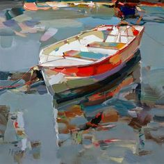 Floating boat painting by Josef Kote. Abstract Painters, Abstract Art, Boat Painting, Paintings I Love, Art And Illustration, Landscape Art, Love Art, Painting Inspiration, Amazing Art