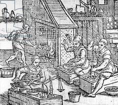 Women Blacksmiths (woodcut) (b/w photo), 16th century