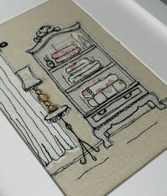 Handmade French Armoire Embroidered Picture. Ideal by LillyBlossom