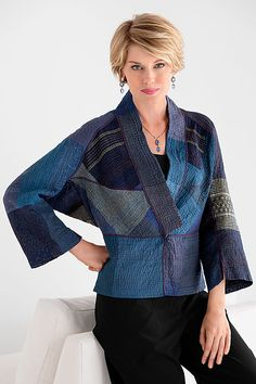 Dolman Sleeve Patched Kantha Jacket by Mieko Mintz: Cotton Jacket available at www.artfulhome.com