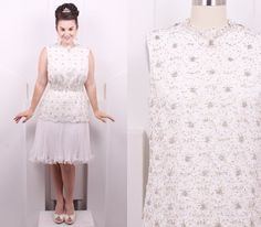 Vintage 1960's Jack Bryan White Beaded Cocktail Dress • 60's Designer Lace and Organza Drop Waist •