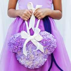 What a cute Mickey Mouse inspired flower girl pomander!