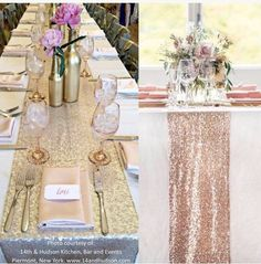 Gold Sequin table runner. Beautiful for all! Fantastic for any wedding, event, or home decor. These beautiful sequin table runners shimmer with delight!  Table