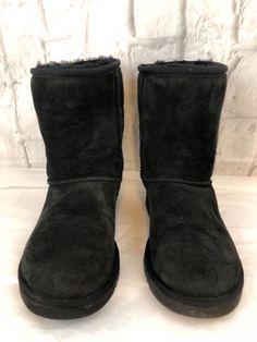 e1dc67eb655754 UGG Australia Black Classic Short 5825 Leather Sheepskin Boots Size W5