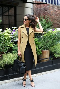 Actress Meghan Markle in Veronica Beard Trench Vest, Veronica Beard Black Midi Dress