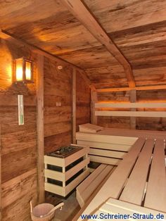 Altholz Sauna - Inneneinrichtung Diy Sauna, Sauna Ideas, Outdoor Sauna, Outdoor Pool, Mobile Sauna, Portable Sauna, Sauna Design, Steam Sauna, Sauna Room