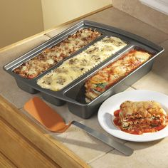 The cool new Lasagna Trio Pan has three separate channels for baking up three different recipes at the same time. You can serve different types of lasagna