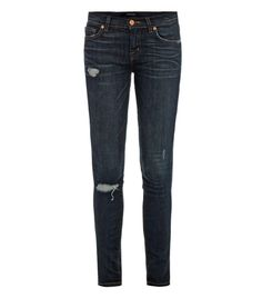 811 distressed mid-rise skinny jeans by J Brand. These distressed indigo-wash jeans have a mid-rise and skinny leg with light whiskering and ripped detailing. The fitted jeans have a top buttoned zip-front fastening, the classic five pockets and belt loops. Designer wash: Salem. 92% cotton 7% polyester 1% spandex. Machine wash. #Matchesfashion