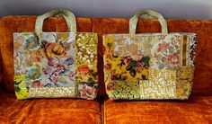 Tapestry tote in yellow floral velvets weekender made to order