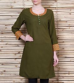 Green Linen Kurta (100000061700)