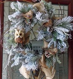 Love this cute winter wreath for the front porch, door or patio. Adorable seasonal decor. Perfect for after Christmas. #wreath #winter #afflink