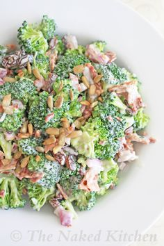 Broccoli SaladIngredients:  ■1 head broccoli, ■4 slices cooked bacon, ■1/2 cup red onion, chopped  ■3/4 cup mayonnaise ■2 tbsp white vinegar  ■1 1/2 tbsp raw honey  ■1/4 cup roasted sunflower seed kernels  ■S to taste  Preparation:  1.In bowl combine mayo, vinegar, honey, S  Mix set aside.  2. large bowl combine broccoli, bacon, onion.  Add dressing sprinkle with sunflower and serve