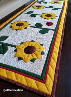 Sunflower Table Runner with Ladybugs, Summer Table Decor, PDF Quilt Pattern – Runner Rugs Entryway Patchwork Table Runner, Table Runner And Placemats, Quilted Table Runners, Fall Table Runner, Quilted Table Runner Patterns, Table Topper Patterns, Quilting Projects, Quilting Designs, Summer Table Decorations